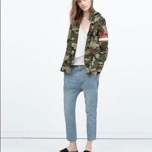 Zara camouflage hooded parka small